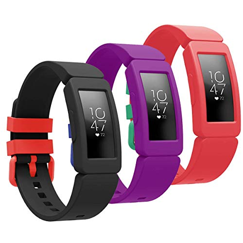 how to get started and stick with a fitbit 2021 Goseth Compatible with Fitbit Ace 2 Bands for Kids 6+, Replacement Silicone Accessories Bracelet for Fitbit Ace 2 Fitness Tracker(Black+Purple+Red)