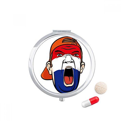 DIYthinker Nederland Vlag Facial Make-up Mask Screaming Cap Travel Pocket Pill case Medicine Drug Storage Box Dispenser Mirror Gift