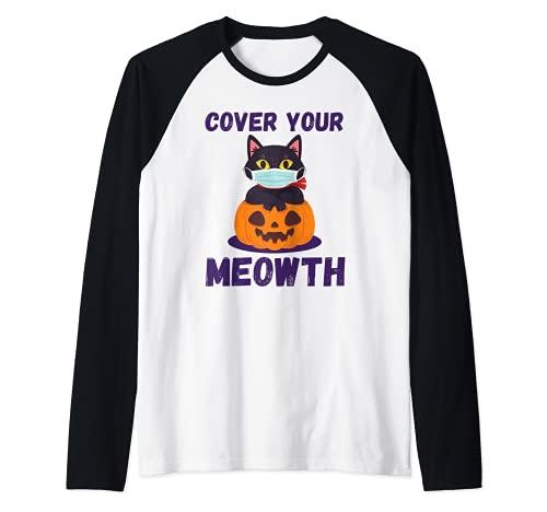 Cover Your Meowth Divertidos disfraces de Halloween Máscara Camiseta Manga Raglan