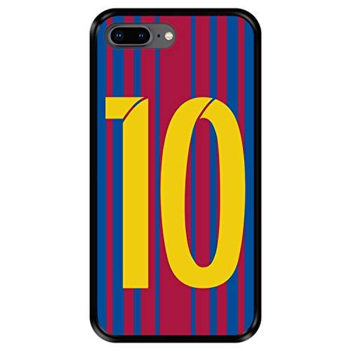 Hapdey Funda Negra para [ Apple iPhone 7 Plus - 8 Plus ] diseño [ Ilustración fútbol, número 10 ] Carcasa Silicona Flexible TPU