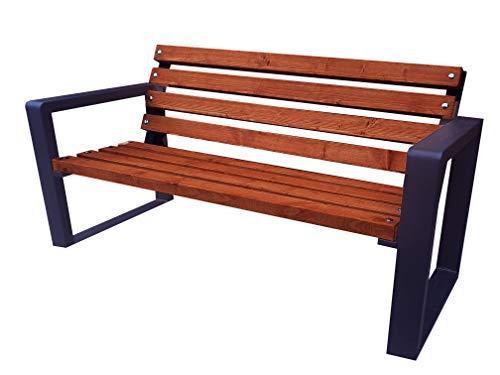 Gartenbank Park Massiv Robust Stabil Sitz Garten Balkon Bank Holz Metall Wetterfest Gartenmöbel Erwachsene und Kinder Outdoor Verschiedene Größen und Farben (Grande Palisander 125)