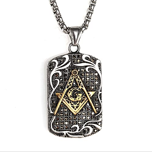 Freemason Masonic Necklace for Men and Women Dog Tag Pendant Necklace Gifts for Boyfriend Graduation Gifts (gold)