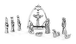 top 10 metal nativity set Chreche Miniature Pewter Christmas Set, 11 Piece Set with Velvet Bag
