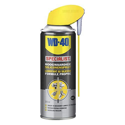 WD-40 Spezialist, hochwertiges Silikonspray mit intelligentem Stroh, schmiert, schützt und vertreibt Wasser und Schmutz bei allen Wetterbedingungen, 250 ml