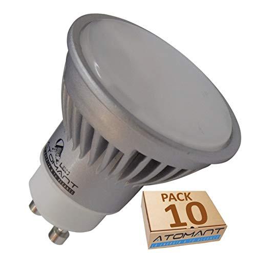 Pack 10x GU10 LED 7W potentisima. Halogeno LED 680 lumenes reales - Recambio bombillas 60W (Blanco frio 6500k)