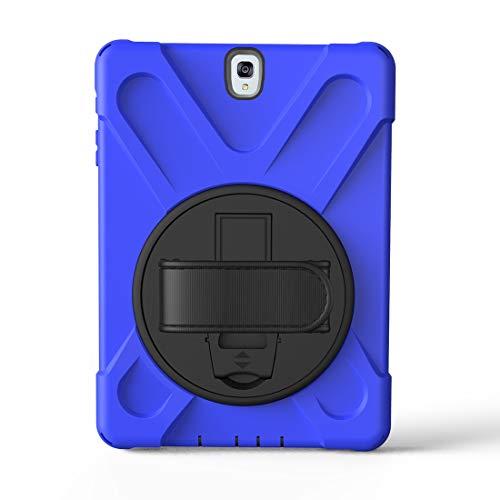 Mangas de la bolsa de la caja de la PC de la table Serie del pirata de tres-en-uno resistente a los golpes de Shell for Samsung TabS3 9.7' T820 / T825 / T827, Gota a prueba,360 grados de rotación de m