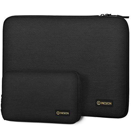 I INESEON Laptop Tasche Hülle für 2010-2017 MacBook Air 13 (A1466 A1369), 2012-2015 MacBook Pro 13 Retina, 13.5'' Surface Laptop 2/3 Notebooktasche Sleeve mit Zubehörtasche, Schwarz