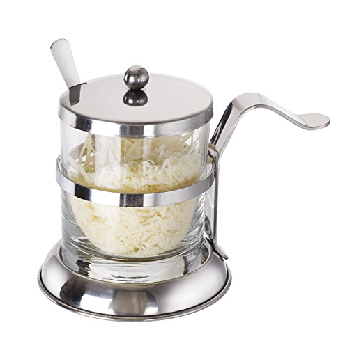 Cucina Italiana Stainless Cheese Bowl Salt Server and Spoon 8 oz Jar Set