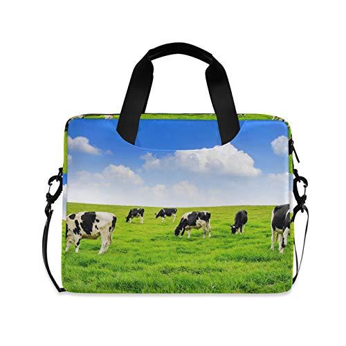 RELEESSS Laptop Sleeve Animal Cow Laptop Handbag Briefcase Messenger Carrying Case Bag Adjustable Shoulder Strap for 13-16 Inch