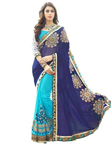 Saree Sari Designer Indian Dress Bollywood Ethnic Party Traditional (Free Size, Blue)