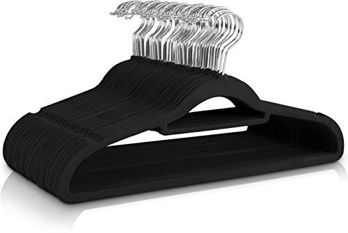 Utopia Home - Antideslizantes Perchas de Terciopelo de Primera Calidad [Paquete de 50] (42cm) - Perchas Resistentes con Barra de unión - Abrigos Chaquetas Pantalones y Ropa de Vestir Perchas (Negro)