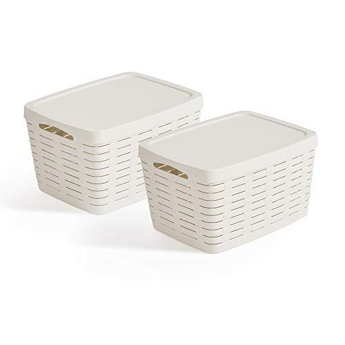 USE FAMILY Bamboo, Cestas almacenaje baño con Tapa - Set 2 x 22L - Apilables- Blanco roto-41x 31x 23 cm- Cajas organizadoras Juguetes de Navidad