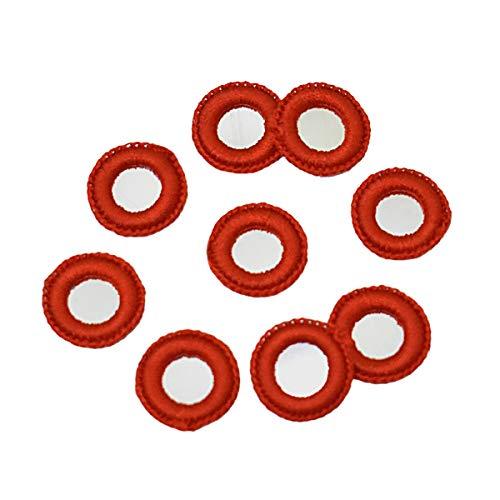 Embroiderymaterial Crochet Shisha Espejos Applique Combo Pack para Bordado y Artesanía Propósito Rojo Naranja (100 Piezas)