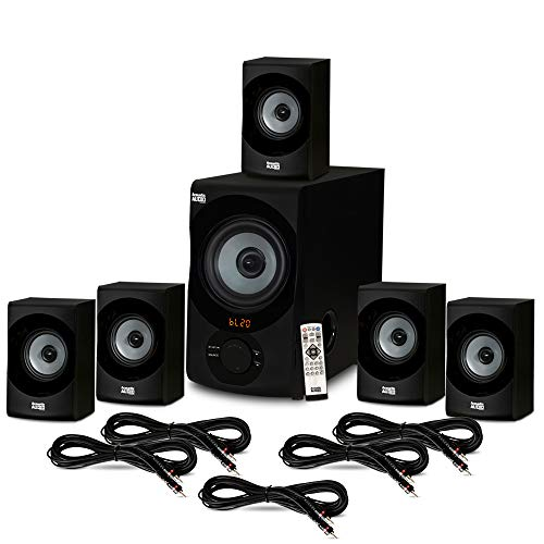 Acoustic Audio AA5172 Home Theater 5.1 Bluetooth Speaker System with USB and 5 Extension Cables
