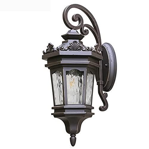 Tanktoyd Lámpara de pared al aire libre de estilo europeo E27 Linterna de pared retro tradicional para patio Corredor Jardín Impermeable IP55 Decoración Accesorio de pared LighPark Gate Lámpara de par