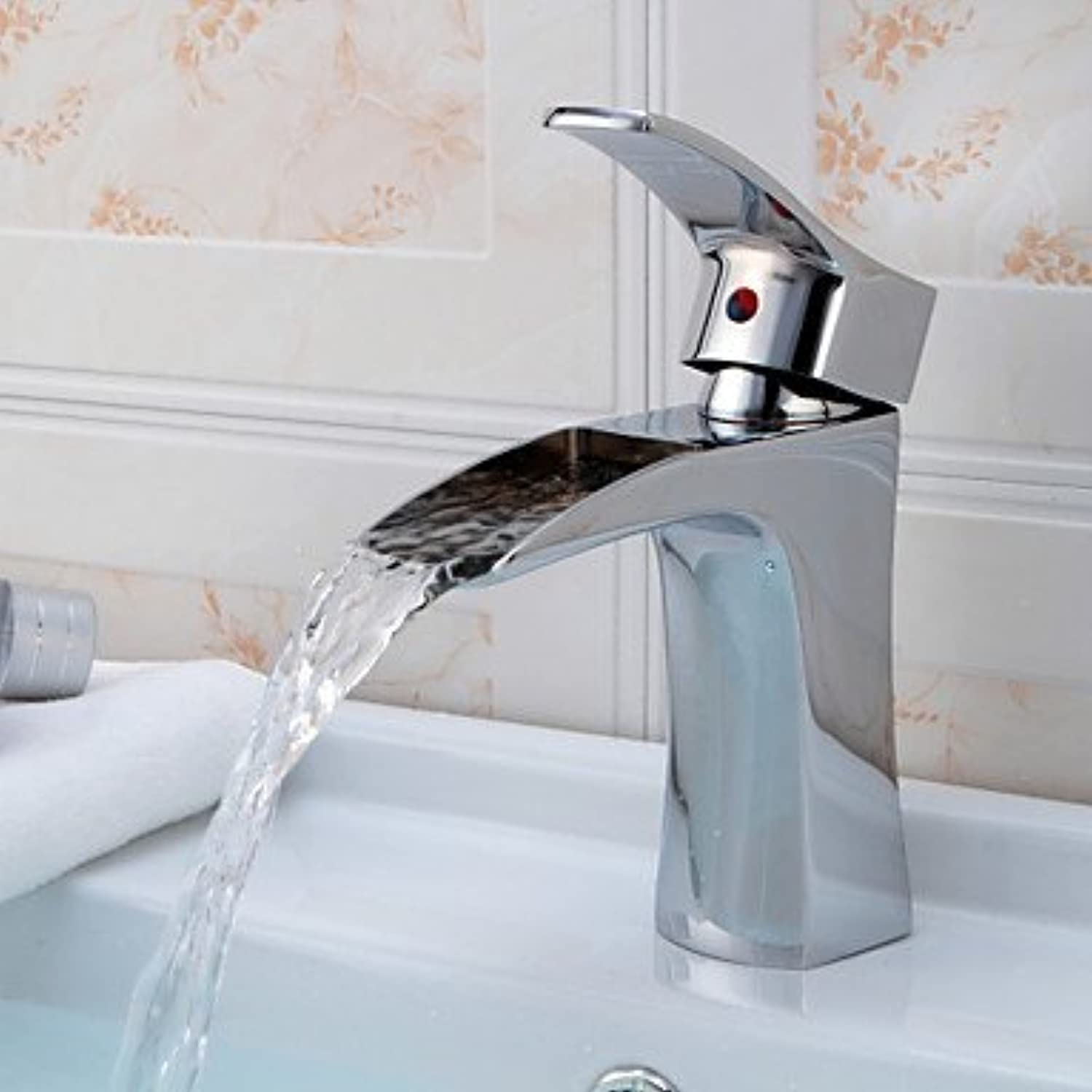BiuTeFang Basin Tap Chrome Finish Waterfall Bathroom Sink Faucet Bathroom Faucet Basin Mixer Tap