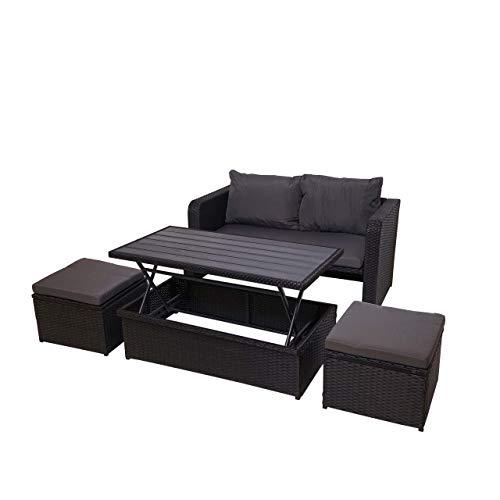 Mendler Poly-Rattan Garnitur HWC-G78, Balkon-/Garten-/Lounge-Set Sofa Sitzgruppe, Platzwunder ~ schwarz, Kissen dunkelgrau