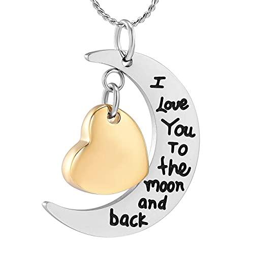 KBFDWEC I Love You to The Moon and Back Memorial Urna Collar para Cenizas Recuerdo Cremación Joyas para Mascotas Oro Humano