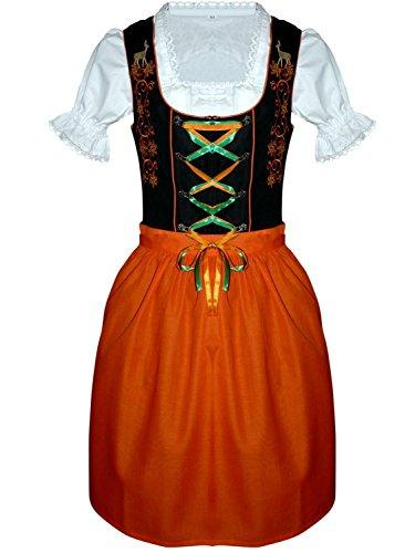 Damen-Dirndl Di20os midi Gr.40, 3 TLG. Trachten-Kleid orange-schwarz mit Dirndel-Bluse u. -Schürze für Oktober-Fest