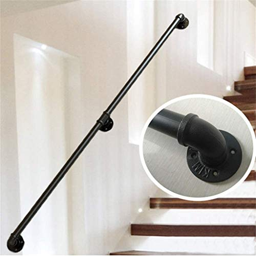 DYQFS Handrails for Stairs, Black Metal Wrought Iron with Wall Brackets Handrails for Staircases Exterior Outdoor Steps Or Indoor Stairs Banister Railing Rail Handrail (Size : 300cm)