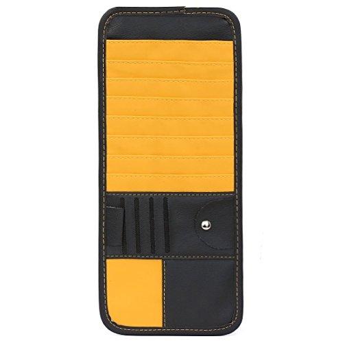 Bil 14 fickor CD DVD solskärm förvaring organiseringshållare svart gul