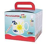 Kreul 16500 - PorcelainPen easy Tassenset für Kinder, weiße Tasse zu selber Gestalten, 4 Porzellanmalstifte mit Pinselspitze in gelb, kirschrot, dunkelblau und schwarz