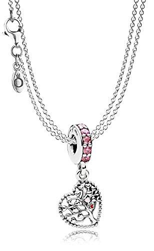 Pandora Halskette mit Charm-Anhänger Liebesbaum eleganter Halsschmuck für Damen, wunderschönes Geschenk-Set für modische Frauen, 08392
