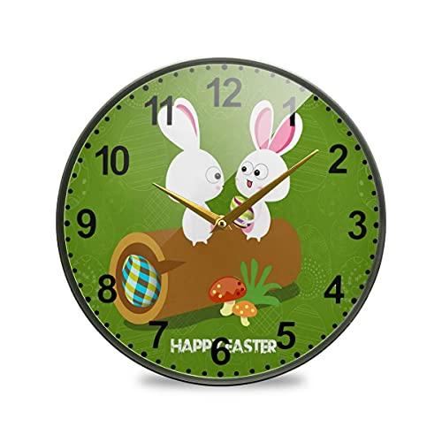 Relojes de Conejos y Setas para decoración de Sala de Estar Reloj de Pared silencioso sin tictac para baño Cocina