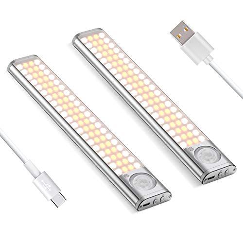 LED Schrankbeleuchtung mit Bewegungsmelder, 80 LED Unterbauleuchte mit 3 Lichtmodus, 1800mAh USB Wiederaufladbar LED Nachtlicht mit Magnetstreifen auf Schrank, Kabinett, Küche, Kleben(2 Pack)