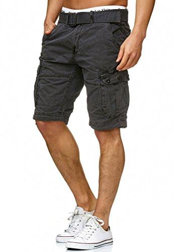 Indicode Herren Bolton Cargo Shorts mit 7 Taschen inkl. Gürtel aus 100% Baumwolle | Kurze Hose Regular Fit Bermuda Sommerhose Herrenshorts Short Men Pants Cargohose kurz für Männer in Raven Large