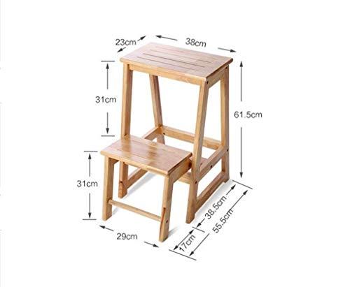 XIN Massivholz Home Fold Staircase Multifunktions-Innenleiter-Regal mit doppeltem Verwendungszweck Wechseln Sie den Schuhhocker