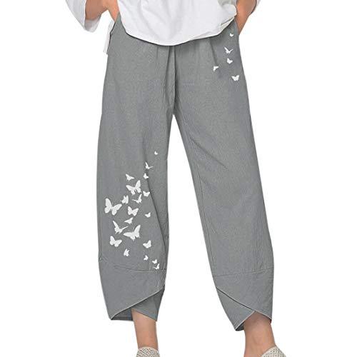 MoneRffi Damen Hose Leinenhose Sommer Stoffhose Einfarbig Weite Casual Patchwark Freizeithose Haremshosen Elastische Taille Mit Taschen(Grey#1,M)