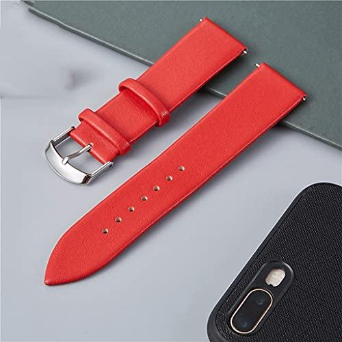 SCDZS Correa de Reloj de Cuero Genuino 16 mm 18 mm 20 mm 22 mm Blanco Marrón Negro Correa de Reloj de Cuero Suave Accesorios de Reloj (Color : Red, Size : 22mm)