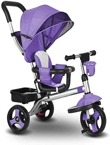 WLD Kindertraining Voertuig Kinderdriewieler Kinderdriewieler Baby Fiets Multifunctionele Baby Vervoer Verstelbare Luifel Beveiliging Hek Remsysteem Baby Verjaardag Aanwezig 3 Kleur Opties Paars