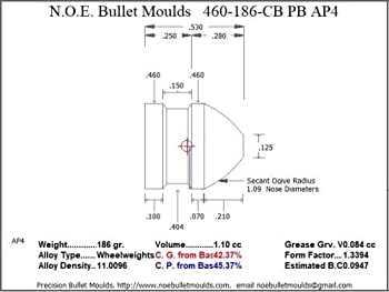 Bullet Mold 5 Cavity Aluminum .460 Caliber Plain Base 186gr Bullet with a Collar Button Profile Type A Collar Button bu
