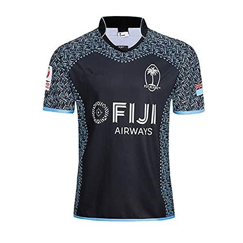 ZDVHM 2018-19-20 Fiji Inicio/Away Rugby Jersey 100% Poliéster Tela Transpirable Deportes Entrenamiento Camiseta Rugby Uniform Camiseta de fútbol Camisa de fútbol para los fanáticos