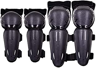 Webetop Kids Dirt Bike Knee And Elbow Pads Shin Guards Youths Protective Gear Set 4pc (Black)