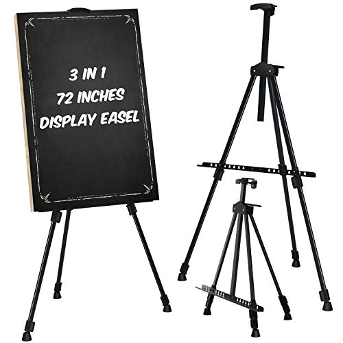 """Easel Stand, Ohuhu 72' Artist Easels for Display, Aluminum Metal Tripod Field Easel with Bag for Table-Top/Floor/Flip Charts, Black Art Easels W/Adjustable Height 25-72"""" for Back to School"""
