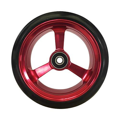RIANTWHEEL, 5 X 1.4 inch, Solid, PU Wheels, Wheelchair Casters, Aluminum Rim, one Pair (Red)