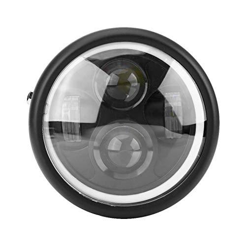 Hlyjoon Faro per motocicletta 12V DC LED Lampadina per lampada frontale 16cm 6,5 pollici Bianco freddo Moto anteriore Faro anteriore Adatto per incrociatori Chopper Cafe Racer