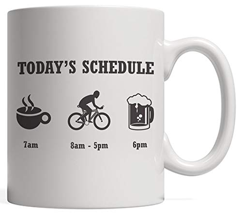 Today39s Schedule Mug - Coffee Cycling Bike And Beer - Funny Biking Gift For Cyclists And Bikers Who Love Drinking And Riding In The Mountain