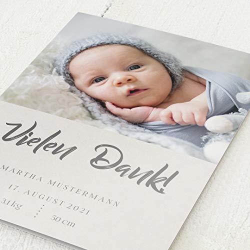 sendmoments Danksagungskarten Geburt, Baby ist da, 5er Klappkarten-Set C6, wahlweise Goldfolien-Veredelung, personalisiert mit Text & Fotos, optional Design-Umschläge