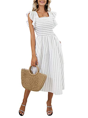 Miessial Women's Striped Linen Long Dress Elegant Ruffle Cap Sleeves Midi Dress White 4-6