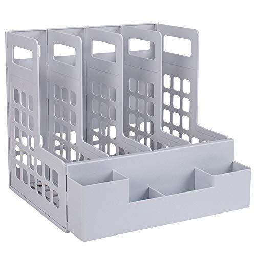 COLiJOL Divisores de Archivos Estante para Gabinete de Documentos Caja de Plástico Multifunción para Archivos Cuatro Columnas con Soporte para Bolígrafos Alenamiento Y Alenamiento un Soporte para Arc