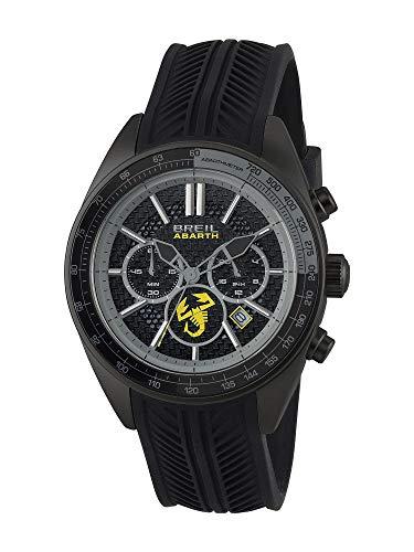 BREIL - Herren Uhr aus der Kollektion Abarth TW1694 - Armbanduhr Chrono Gent mit Analogem Zifferblatt in Schwarz - OS21 MIYOTA Bewegung - Quartuhr - mit schwarzem Silikon-Armband