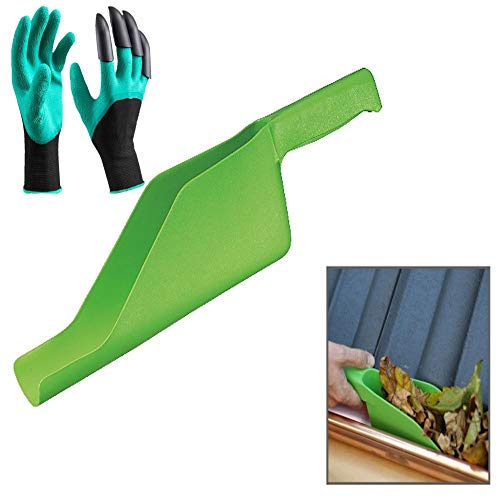Gutter Guard Cleaning Tool. Scoop and Gloves with Claws Included. Perfect Set for Gutter Guards Cleaning and Garden.
