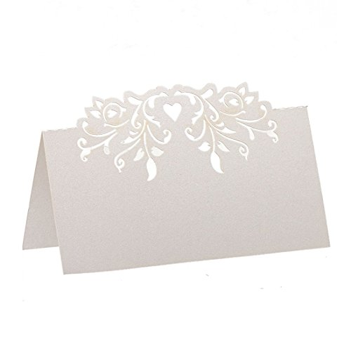 Heritan 60pcs Lace Wedding Table Name Place Cards Personalised Reception Decoration with White Lace Pattern Cardstock for Wedding Favors,Party