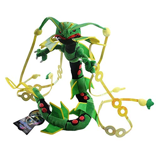 Kioiien Kids Plush Toys Cartoon Green Shiny Mega Rayquaza Anime Stuffed Toy Animal Soft Doll Birthday Car Decoration for Children Kids Gifts Cute Soft Doll Decoration 83cm