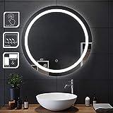 SIRHONA 80x80cm Miroir de maquillage monté sur mur avec miroir éclairé rond et rétro-éclairé par miroir de salle de bains avec contrôle par capteur, anti-poussière et anti-buée, lumière blanche froide