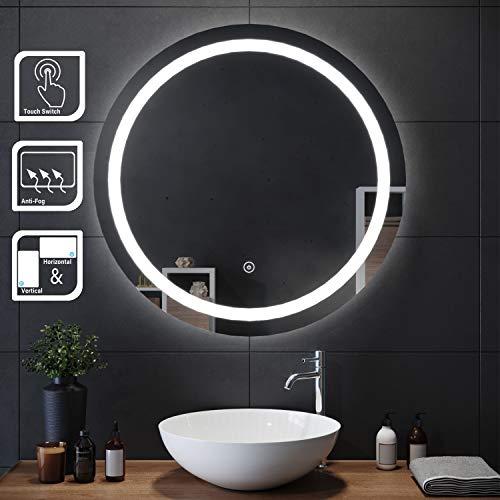 SIRHONA LED Espejo Redondo 80x80cm Baño Pared con Interruptor Táctil Sensible Función Anti-Niebla Espejo de Baño con Iluminación LED Espejo Redondo con Diseño Elegante y Moderno